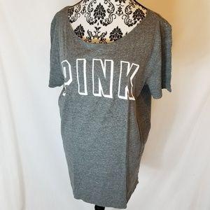 PINK Victoria's Secret Marled Grey Logo Tee Shirt